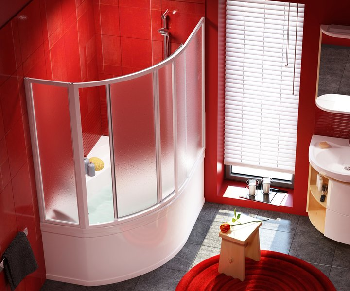 полукруглая раздвижная шторка для ванны